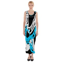 Tangled Rope Blue White Fitted Maxi Dress