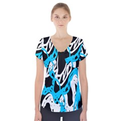 Tangled Rope Blue White Short Sleeve Front Detail Top