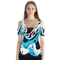 Tangled Rope Blue White Butterfly Sleeve Cutout Tee