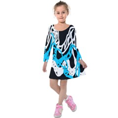 Tangled Rope Blue White Kids  Long Sleeve Velvet Dress