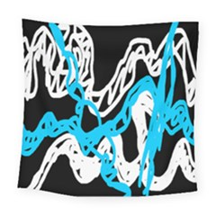 Tangled Rope Blue White Square Tapestry (large)