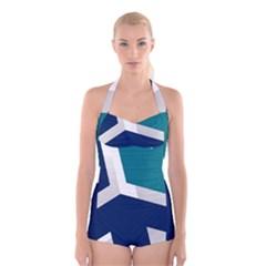 Tri Star Flag Boyleg Halter Swimsuit