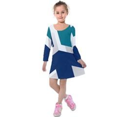 Tri Star Flag Kids  Long Sleeve Velvet Dress