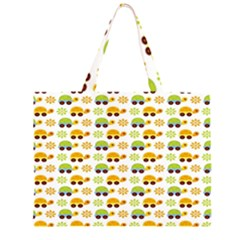 Turtle Green Yellow Flower Animals Large Tote Bag