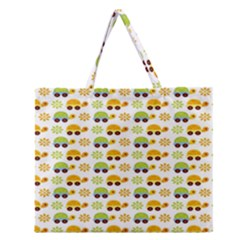 Turtle Green Yellow Flower Animals Zipper Large Tote Bag