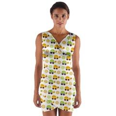 Turtle Green Yellow Flower Animals Wrap Front Bodycon Dress