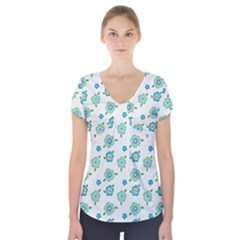 Valentine Chevron Papers Flower Floral Green Flowering Short Sleeve Front Detail Top