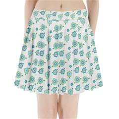 Valentine Chevron Papers Flower Floral Green Flowering Pleated Mini Skirt
