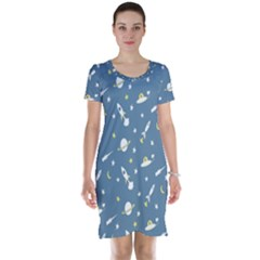 Twiddy Space Saturnus Plane Star Month Rocket Blue Sky Short Sleeve Nightdress