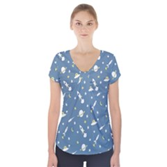 Twiddy Space Saturnus Plane Star Month Rocket Blue Sky Short Sleeve Front Detail Top