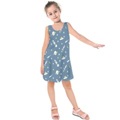 Twiddy Space Saturnus Plane Star Month Rocket Blue Sky Kids  Sleeveless Dress