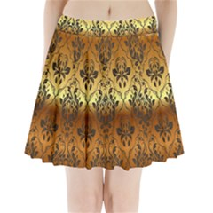 Vintage Gold Gradient Golden Resolution Pleated Mini Skirt