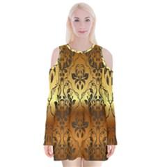 Vintage Gold Gradient Golden Resolution Velvet Long Sleeve Shoulder Cutout Dress