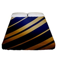 Wave Blue Gold Fitted Sheet (king Size)