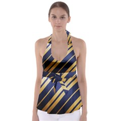 Wave Blue Gold Babydoll Tankini Top