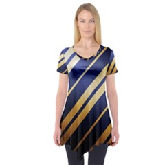Wave Blue Gold Short Sleeve Tunic