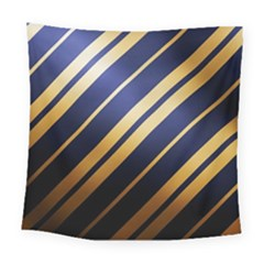 Wave Blue Gold Square Tapestry (large)