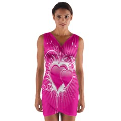 Valentine Floral Heart Pink Wrap Front Bodycon Dress
