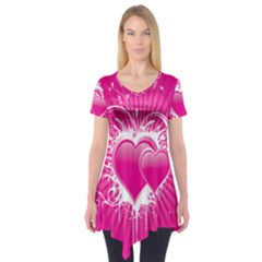 Valentine Floral Heart Pink Short Sleeve Tunic