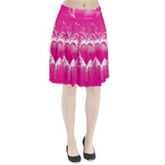 Valentine Floral Heart Pink Pleated Skirt