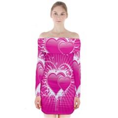 Valentine Floral Heart Pink Long Sleeve Off Shoulder Dress