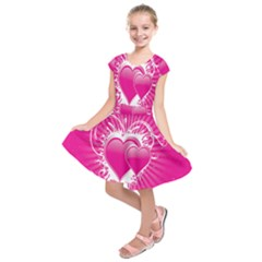 Valentine Floral Heart Pink Kids  Short Sleeve Dress