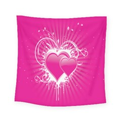Valentine Floral Heart Pink Square Tapestry (small)