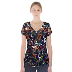 Wave Zig Zag Short Sleeve Front Detail Top