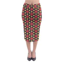 Tiling Flower Star Red Midi Pencil Skirt