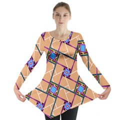 Wallpaper Overlaid Brown Line Purple Blue Box Long Sleeve Tunic