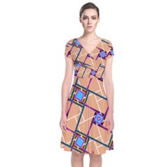 Wallpaper Overlaid Brown Line Purple Blue Box Short Sleeve Front Wrap Dress