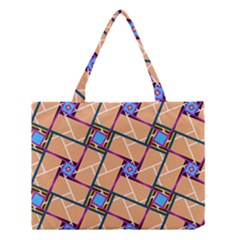 Wallpaper Overlaid Brown Line Purple Blue Box Medium Tote Bag