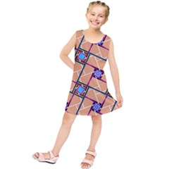 Wallpaper Overlaid Brown Line Purple Blue Box Kids  Tunic Dress