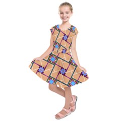 Wallpaper Overlaid Brown Line Purple Blue Box Kids  Short Sleeve Dress