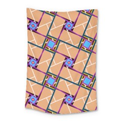 Wallpaper Overlaid Brown Line Purple Blue Box Small Tapestry