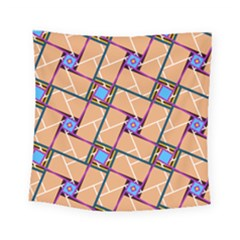 Wallpaper Overlaid Brown Line Purple Blue Box Square Tapestry (small)