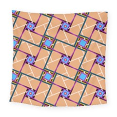 Wallpaper Overlaid Brown Line Purple Blue Box Square Tapestry (large)