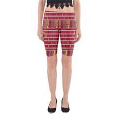 Woven Fabric Pink Yoga Cropped Leggings