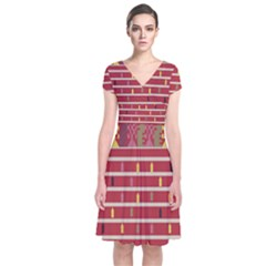 Woven Fabric Pink Short Sleeve Front Wrap Dress