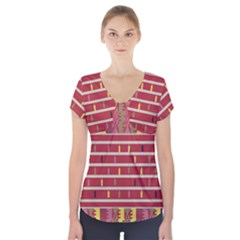 Woven Fabric Pink Short Sleeve Front Detail Top