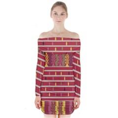 Woven Fabric Pink Long Sleeve Off Shoulder Dress