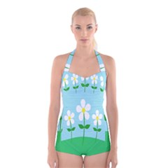 Flower Floral Blue Sky Green Leaf Boyleg Halter Swimsuit