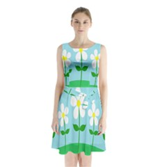 Flower Floral Blue Sky Green Leaf Sleeveless Chiffon Waist Tie Dress