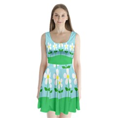 Flower Floral Blue Sky Green Leaf Split Back Mini Dress