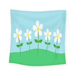 Flower Floral Blue Sky Green Leaf Square Tapestry (small)