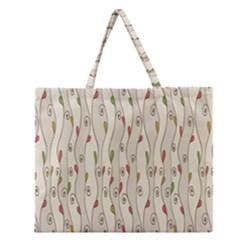 Flower Floral Leaf Zipper Large Tote Bag