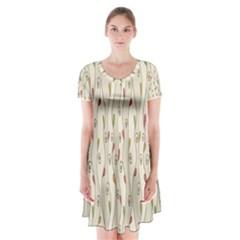 Flower Floral Leaf Short Sleeve V-neck Flare Dress