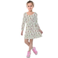 Flower Floral Leaf Kids  Long Sleeve Velvet Dress