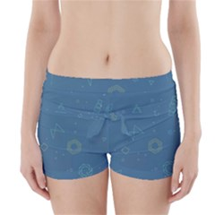 Geometric Debris In Space Blue Boyleg Bikini Wrap Bottoms