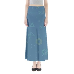 Geometric Debris In Space Blue Maxi Skirts